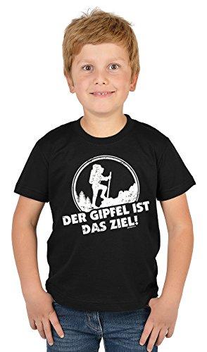 Bergesteiger Sprüche Kinder T-Shirt Wander Shirt : der Gipfel IST Das Ziel! - Kindershirt Klettern Berge T-Shirt Gr: S = 122-128
