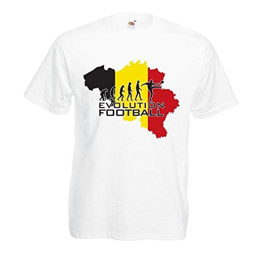 lepni.me Maglietta da Uomo Evoluzione Football - Belgio, La Bandiera Belga (Large Bianco Multicolore)