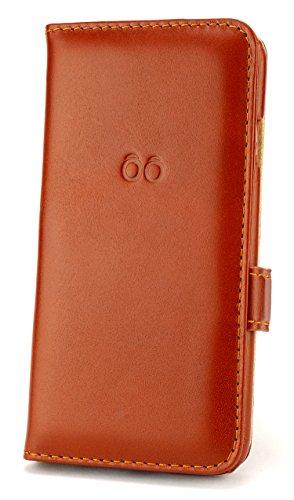 trooble i-phone 7 Leder-Hülle - bookcase - Tasche - Case - Cover für Apple iPhone 7 Echt-leder - mit Visitenkarten-fach braun