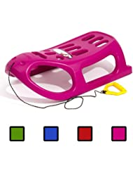 Pink strong plastic sledge with metal runners and rope