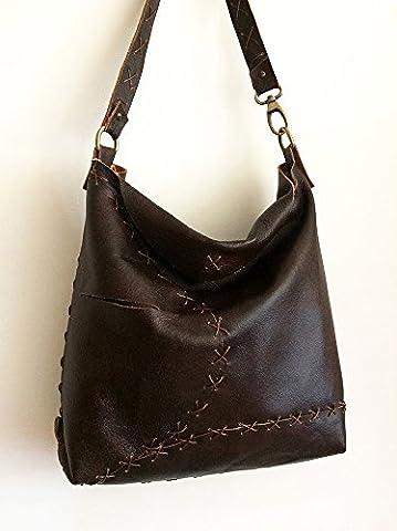 Sac cousu main en cuir brun foncé, femme sac à bandoulière pour tous les jours, faits à la main des sacs faits à la main italienne, limited edition BBagdesign
