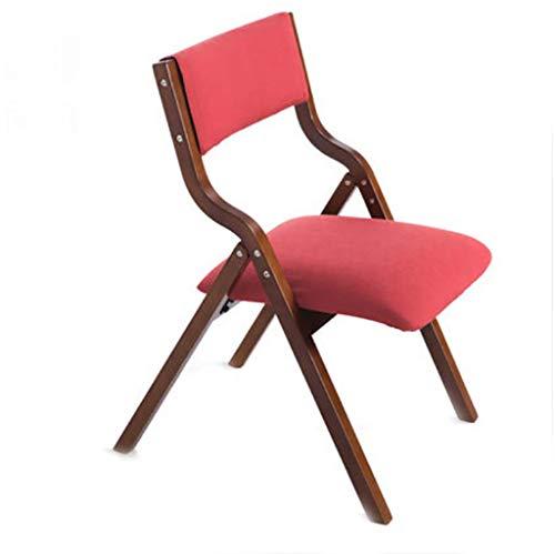 XNLIFE FuBhocker & Polsterhocker Klappstuhl aus Massivholz einfachen modernen Heim Stoff Esszimmerstuhl Computer Stuhl Speisen Niedriger Hocker für Kinder mit Holzbein (Farbe : Rot)