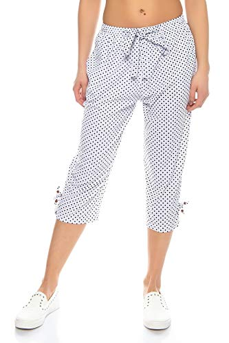 Kendindza Damen Sommer Capri | Kurze 3/4 Schlupfhose zum binden | Uni-Farben (Weiß, XXXL) - Capri Jersey