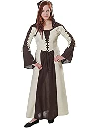 Medieval Dress Bicolour with Hood Front and Back Lacing Natural Brown