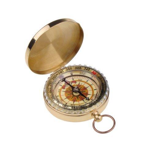 Boussole en cuivre - couleur d'or - multifonctions - mode de nuit - boussole de poche - style antique