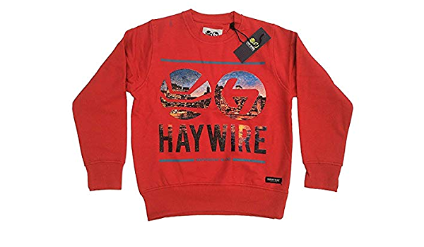 Details about  /BOYS HAYWIRE FASHION CITY SWEATSHIRT JUMPER STYLE SYBER RED