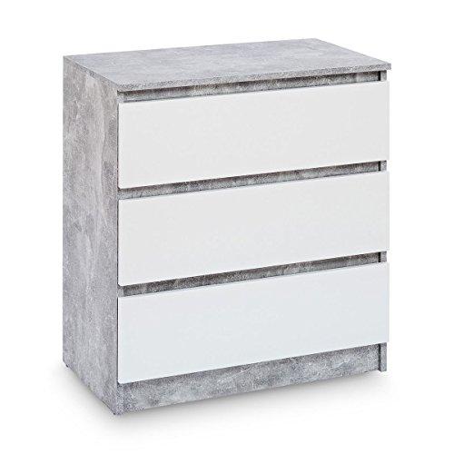 Galdem Kommode Mit 3 Schubladen Sideboard Mehrzweckschrank Anrichte Diele  Flur Esszimmer Wohnzimmer Schlafzimmer (Beton   Weiß)