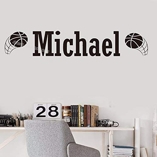 Scrapbooking Sticker Basketball (Custom Name Basketball Wall Sticker Personalized Boys Name Nursery Kids Bedroom Living Room Home Decor Art Mural Wallpaper H610 hot pink 60cm x 20cm)