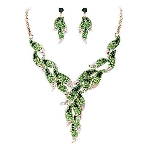 Ever Faith Damen Österreichischen Kristall Hochzeit Braut Floral Leaf Vine Halskette Ohrringe Set Grün Gold-Ton -