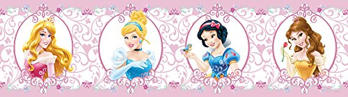 AG Design WBD 8065 Disney Prinzessinnen, selbstklebende Bordüre, 0,14x5 M - 1 Rolle, Papier, Colorful, 500 x 14 cm
