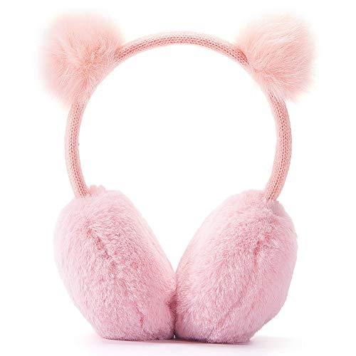 Gifts Treat Ohrenschützer Mädchen Ohrenschützer im Niedlichen Plüsch Design (Rosa zwei Kugeln)