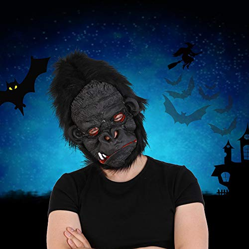 SEJNGF Realistische Schwarze Gorilla Maske Mann Horror Maske Copsplay Party Maske Für Erwachsene Halloween Maskerade Silikon Gesichtsmaske Latex,Gloomy (Wild Gorilla Kostüm)