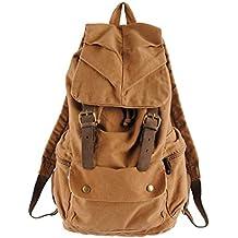 FAIRY COUPLE 2014 nueva mochila grande estilo para hombre de la vendimia adicional Alltagbag escuela mochila todos los días bolsa de lona con cuero multifunción C5112 (1 chocolate