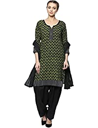 INDIAN FAIR LADY Printed Green & Black Color Stitched Cotton Suit Set For Women