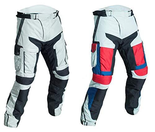 WinNet Pantaloni da moto in cordura 4 stagioni per turismo con protezioni omologate di secondo livello (L, NERO)