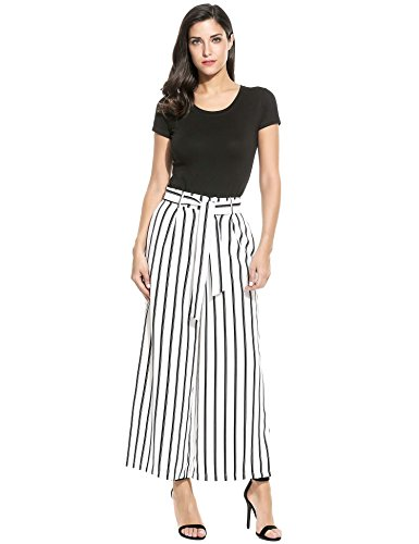 ZEARO Damen Hose Jeans gestreift Wide Leg Lange Weites Bein, Weiß, Gr. XL Wide Leg Jeans-hose