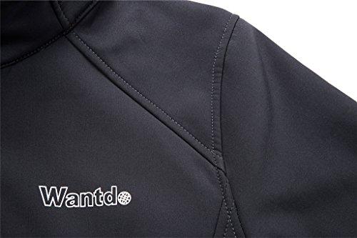 Wantdo Femme Veste Coupe-Vent dExtérieur Col-Montant Sport Blouson Soft Shell Gris foncé