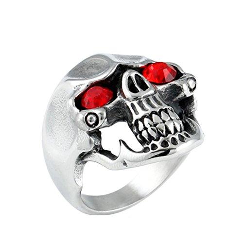 tahl Classic Red Cz Eye Schädel Biker Ring Größe 60 (Halloween Skelette Zum Verkauf)
