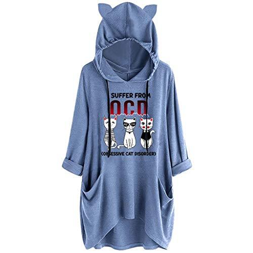 Kostüm Rabatt Lager - Tooth Langarmshirt Damen Große größen, Herbst Mode Frauen Langarm T-Shirt Sweatshirt Hoodies Taschen Locker Druck Pullover Shirt Hemd Tops Oberseiten 2019(Blau4,XXXXXL)
