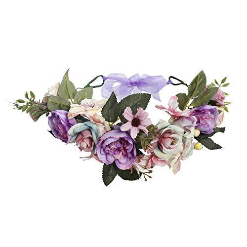 AWAYTR Boho Blumenkrone Stirnband Festival Kopfschmuck - Handgefertigt Blume Haarkranz mit Band Beere Blumenstirnband für Frauen und Mädchen Kleid (Lila + Hellrosa)