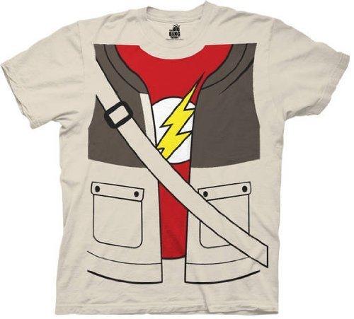 The Big Bang Theory Sheldon Cooper Kostüm Erwachsene Sand T-Shirt (Flash Bang Kostüm Theory Big)