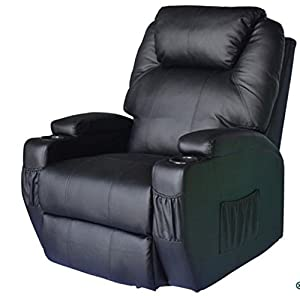 Recliner Chair Electric Massage Upholstered in Recycled Leather PU with Built-in 2 Pocket and 2 Cup Folder - Vibration Massager Point: 8 (2 on the Back, 2 on the Lumbar, 2 on the Thigh, and 2 on the Leg) - Ideal as a Nursing Chair.