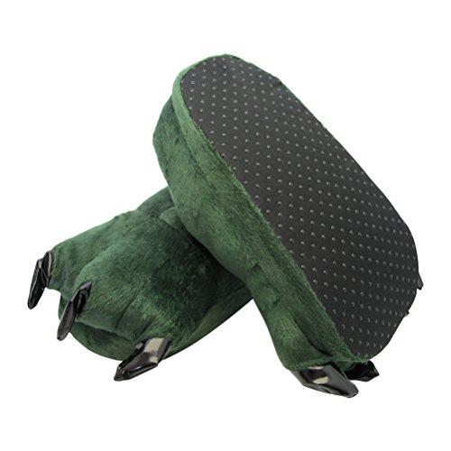 Plüsch Tier Hausschuhe für Kinder und Erwachsene - Kralle Tatze - Mehrere Tierarzen und Großen zum Auswahl Grün Drachen