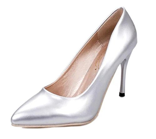 LDMB Dünn mit High - Heeled Schuhe Spitz Toe Nude Color Nightclub Damenschuhe Four Seasons silver nouveau riche