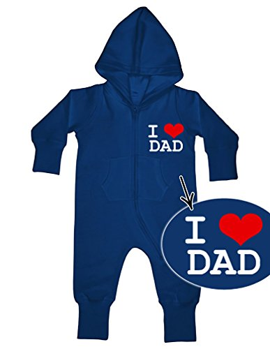 I Love Dad bébé Tout-En-Un sweatsuit Bleu marine - Bleu - 3 ans