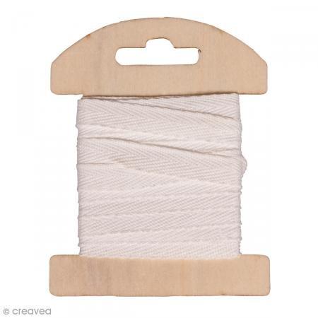Rayher 55725102 Baumwollband, 1 cm, SB-Karte 3 m, weiß