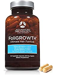 Advanced Trichology FoliGROWTH Ultimate Hair Growth Vitamin - Gluten Free, Vegan Formula, 3rd Party Tested - with High Potency Biotin, Stop Hair Loss - Get Thickest Strongest Hair Growth