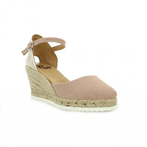 Pao Espadrille cuir velours rose Rose