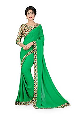 Oomph! Georgette Saree with Blouse Piece (anjani_Fern Green_Free Size)