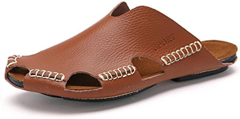 DANDANJIE Sandalen Herren Leder Sommer Sandalen Casual New Durable Flip Flops Mode Schweißabsorbierende Atmungsaktive