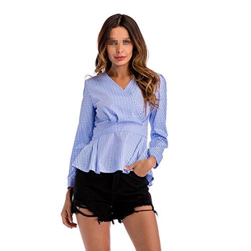 OULII Femmes Slim Chemise à carreaux Hign Taille Peplum Tops avec manches longues irrégulière ourlet col en V - Bleu (XXL)