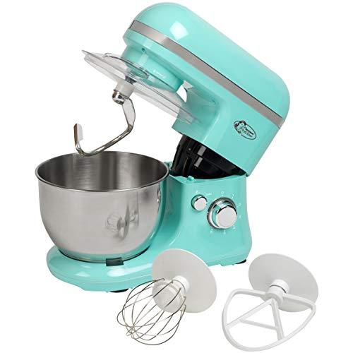 Bestron Robot de cuisine au design rétro avec fouet, crochet pétrisseur et batteur, Sweet Dreams, 1000 W, Vert menthe
