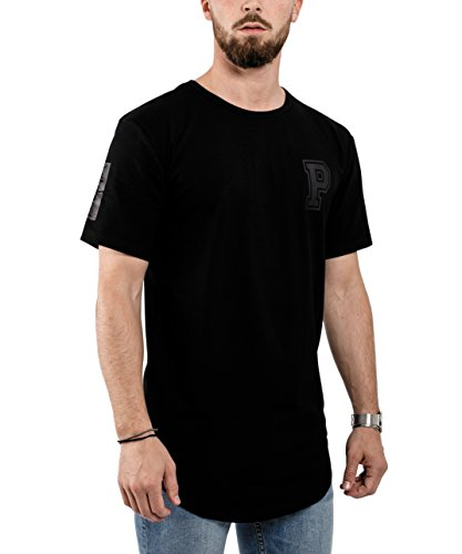 Phoenix Allstar Oversize T-Shirt Herren Longshirt mit 09 Print Longline Tee Langes Stylisches Shirt - S M L XL Allblack