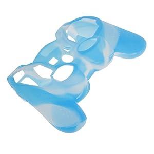 Haut Kasten Silikon Schutzhülle für PS2 PS3 Controller Blau mit Weiß