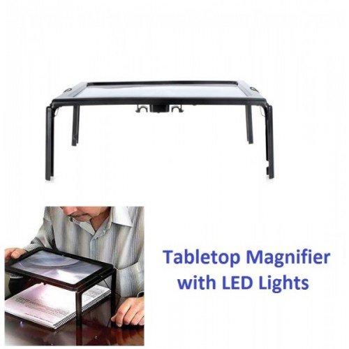 Hände frei Tabletop Lupe mit LED-Licht–Seite Größe Lupe Lupe für Lesen Crafts Nähen Handwerk Hobby (Tabletop-nacht-licht)