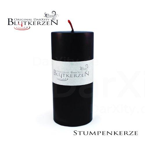 1 Blutkerze - original DarXity - innen rot, außen schwarz - Stumpenkerze reversible/ Umkehrung (L: 13,5cm, Ø: 65mm)
