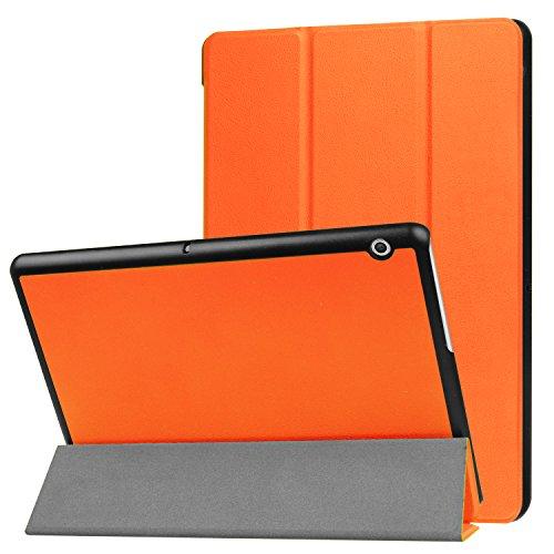 Schutzhülle für Huawei MediaPad T3 10 Hülle 9.6 Zoll Flip Case Slim mit Auto Sleep/Wake + Touch Pen Orange -