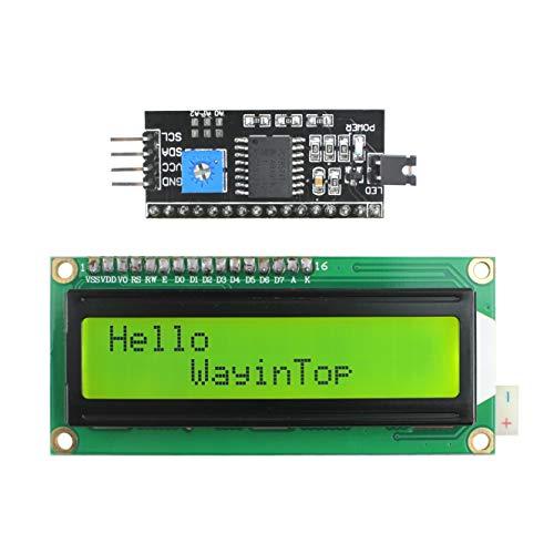 WayinTop 16x2 1602 LCD Display Zeichen Bildschirm mit TWI IIC I2C LCD Schnittstelle Adapter für Arduino Uno R3 Mega 2560 (Gelbgrün/1602) 2 X 2 Lcd