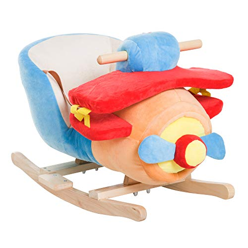 HOMCOM Kinder Schaukelpferd Schaukeltier Schaukel Schaukelspielzeug Musik Flugzeug L60xB33xH45cm
