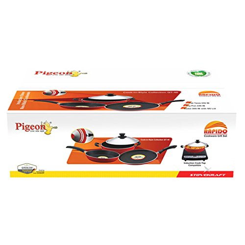 Pigeon Induction Base Non-stick Fry Pan Flat Tawa & Kadai Gift Set With 1 Lid (500ml)  available at amazon for Rs.1893