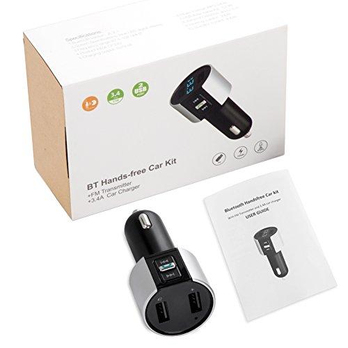 VOYOMO Bluetooth FM Transmitter, KFZ Auto Radio Adapter mit 2 USB Ladern & Mikrofon zur Übertragung von Musik vom Handy und MP3 vom USB-Stick, Freisprecheinrichtung Car Kit für iOS- und Android-Geräte - 7