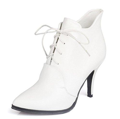 chaussures talon talons chaussures dames chaussures White ont des de dentelle Simple fait bottes aiguille ascenseur Mme à hauts Spring nBxfqw66C7