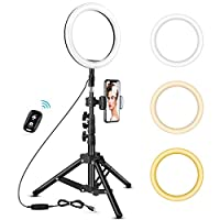 8 inch Ring Light with Tripod Stand - Top1Shop LED Camera Selfie Light Ring with iPhone Tripod and Phone Holder for Video Photography Makeup Live Streaming, Compatible with iPhone and Android Phone