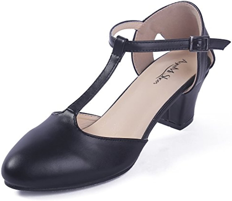 AgeeMi Shoes Womens Hebilla PU Tacón Medio de Salón