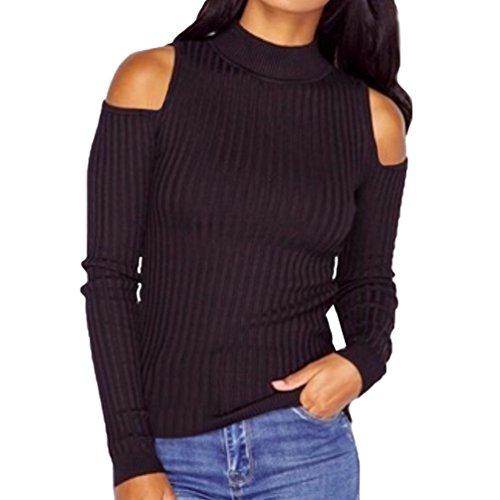 WanYang Maglioni da Donna Cold Shoulder Collo Rotondo Manica Lunga Blouse Maglietta Pull Jumper Nero