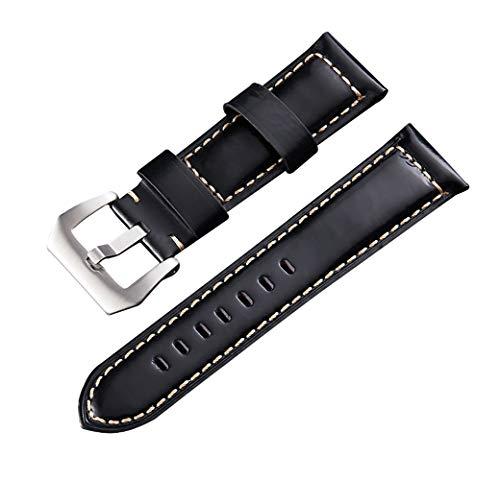 22mm Uhrenarmbänder Herren Damen echtes Leder Armband Öl Wachs Lederband schwarz